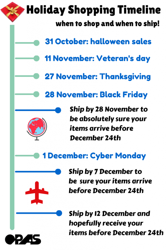 holiday shopping calendar