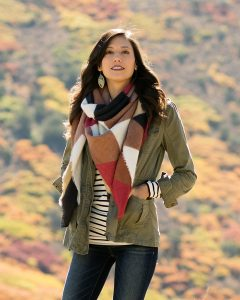 Blanket Scarf: Toggle Poncho in Multicolor Mosaic Grace and Lace | Shopping for Fall | OPAS