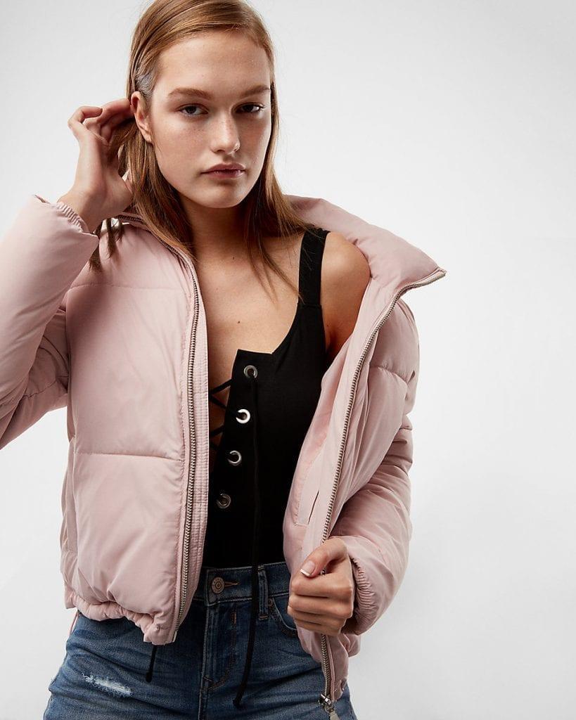 Zip Front Short Puffer Coat | Express | OPAS Blog | October Shopping Trends