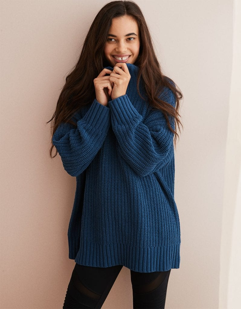 AERIE OVERSIZED CHENILLE TURTLENECK - Winter Fashion - OPAS Blog
