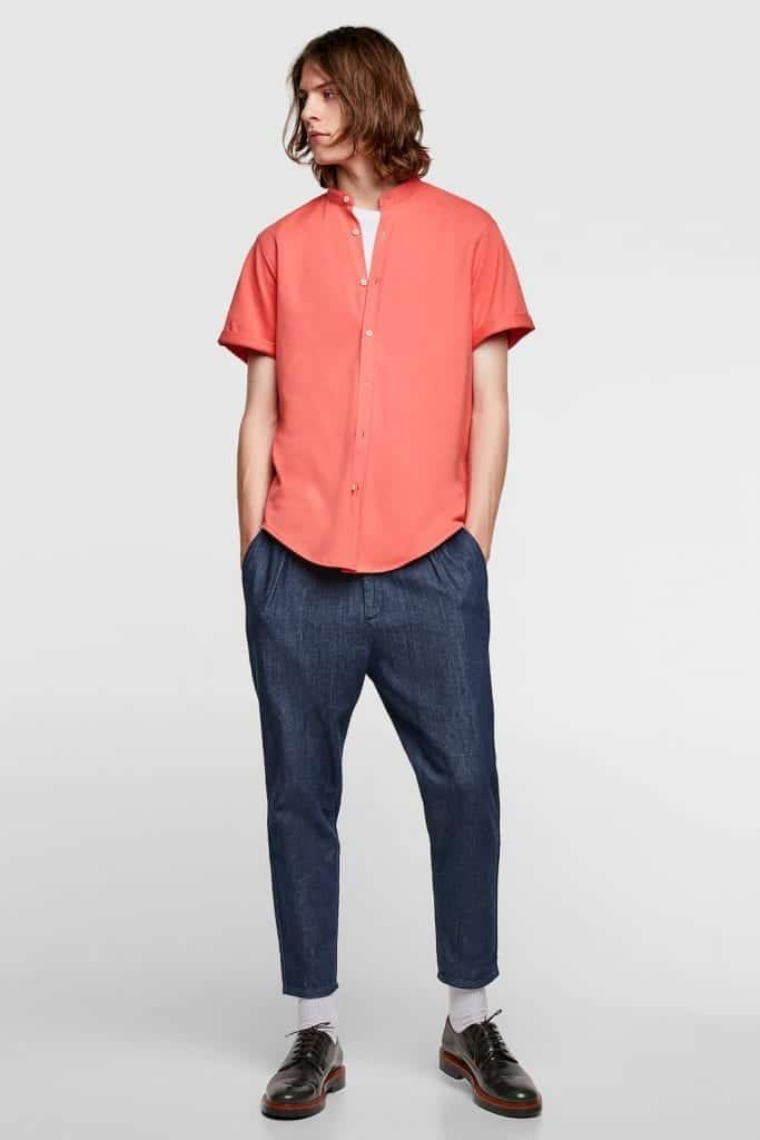 Mandarin Collar Piqué Shirt Zara | Living Coral Trends | OPAS Blog