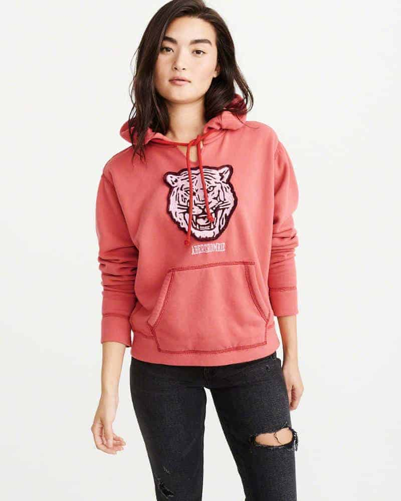 Relaxed Hoodie Abercrombie & Fitch | Living Coral Trends | OPAS Blog