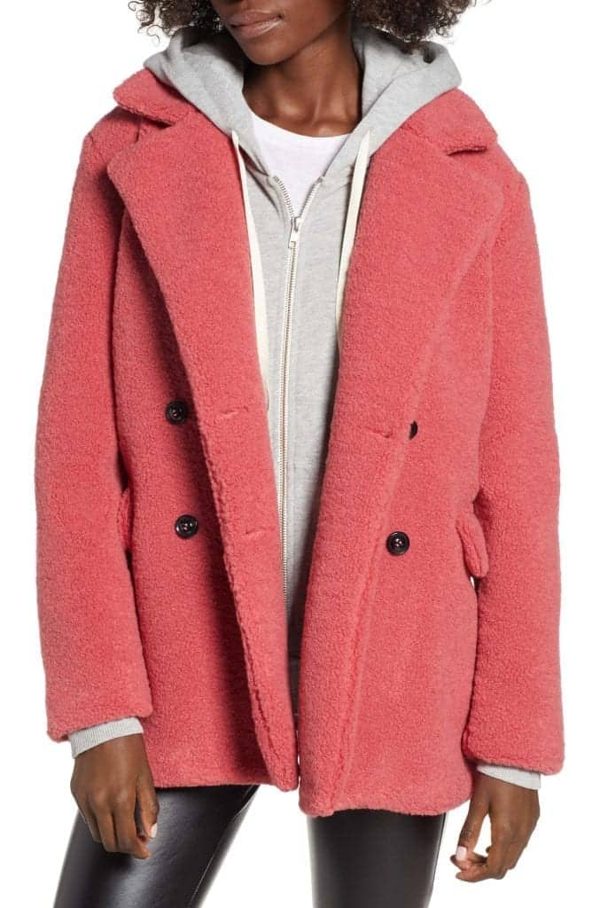 Textured Double Breasted Coat BP Nordstrom | Living Coral Trends | OPAS Blog