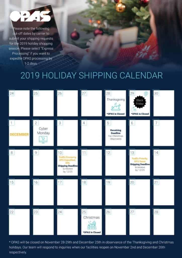 Overseas Mailing Dates for Christmas | OPAS Holiday Shipping Calendar
