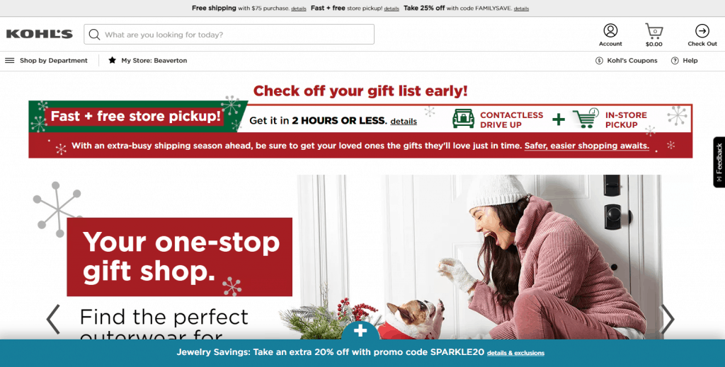Kohls Homepage website for savings when shopping online