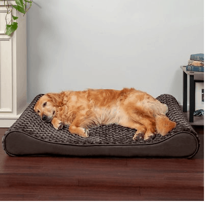 Plush orthopedic cat and dog bed
